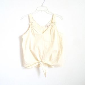 Michael Kors yellow stripped knotted top